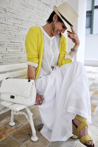yellow Renner cardigan - cream panama Fonte rio hat - white Zara shirt