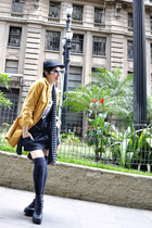 black Vinatge store boots - black Colcci dress - gold Vintage store coat