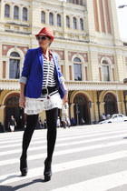 red El sombrero hat - blue Zara blazer - red polka dots Guess shirt