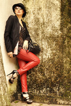 red leather pants Gold Box pants - dark gray Bershka blazer