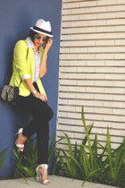 black shoestock bag - white c&a hat - yellow Zara blazer - black la foret pants