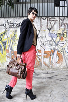 brick red c&a bag - black carmim blazer - tan Zara shirt
