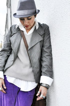 charcoal gray leather jacket c&a jacket - heather gray Mizu hat