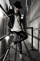 black El sombrero hat - black Marisa jacket - black leather pants LMNTS leggings