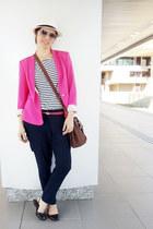 bubble gum Zara blazer - ivory Pralana hat - ivory stripes Talita Kume shirt