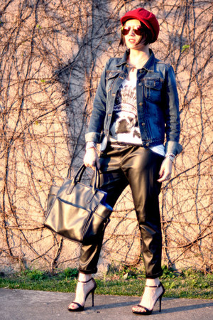 red hat hat - leather pants personal collection hat - navy leather bag TK jacket