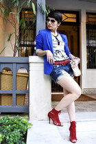 red Zara heels - blue Zara blazer - white Cox&Co shirt
