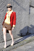 brown animal print Zara hat - red velvet Zara blazer - gold MNG shirt