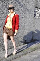 brown animal print Zara hat - red velvet Zara blazer - gold MNG shirt