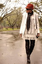 Zara hat - black Via Marte boots - white LMNTS jacket - white Renner skirt