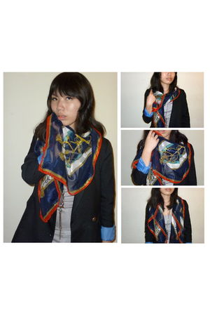black blazer - silver top - blue jeans - black boots - blue scarf