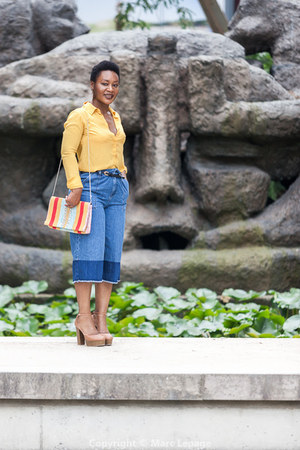 yellow Parfois bag - blue Mango pants - gold new look blouse