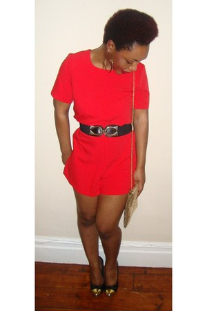 red playsuit asos romper - black Topshop heels