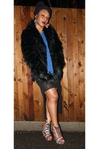 brick red aztec asos wedges - black fur Oasis coat - teal fringe next top