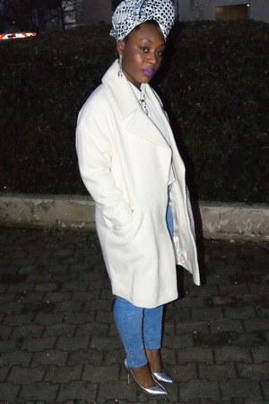 ivory crop top select shirt - ivory boyfriend asos coat