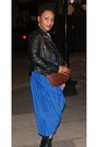 Blue-pleated-monki-skirt-black-leather-river-island-jacket