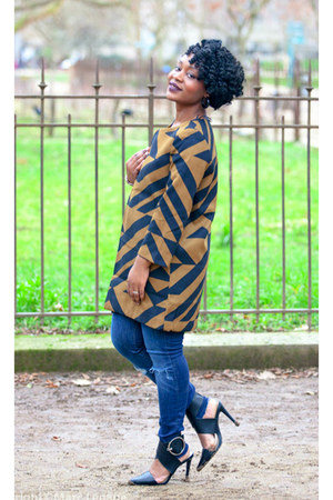 black JustFab heels - navy Zara jeans - light brown H&M blazer
