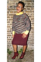 brick red vintage jumper - crimson Carvela boots - mustard new look shirt