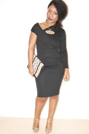 black off shoulder Aqua dress - orange tribal asos bag - camel gold Very heels