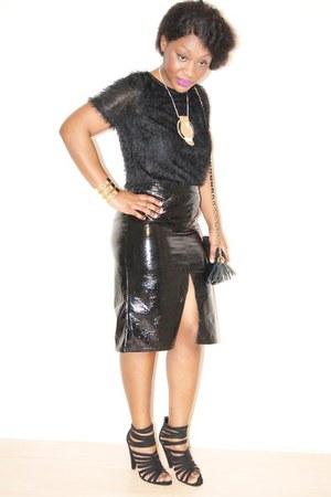 black shoulder bag asos bag - black fluffy select jumper