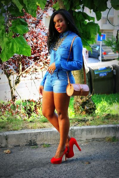 Red Primark Heels, Brown Primark Bags, Blue Denim Shorts Zara ...