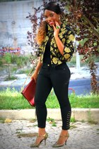 gold Topshop jacket - black Zara pants - gold Guess heels