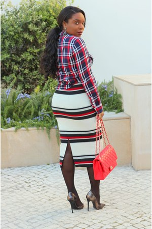 navy Zara shirt - red Chanel bag - gray Zara pumps - brick red Zara skirt