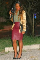 crimson leather skirts Primark skirt - yellow animal print Blazer blazer