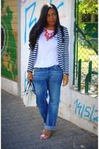 blue navy H&M blazer - blue H&M jeans