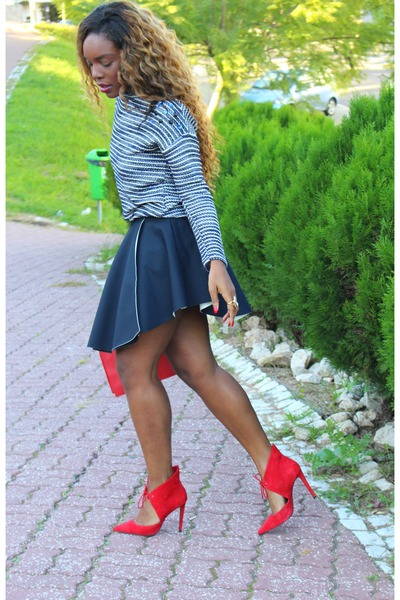 navy Zara skirt - navy Bershka sweater - red Zara heels