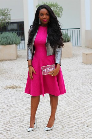 silver H&M jacket - silver Zara pumps - hot pink Zara skirt