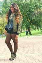 black peplum Zara belt - black Zara boots - gold Primark jacket