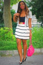 hot pink Sisley bag - ivory H&M skirt - hot pink Stradivarius belt