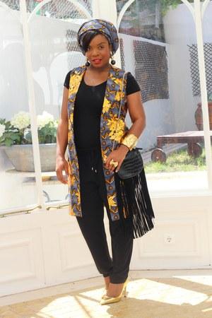 black Zara bag - black Zara t-shirt - gold Zara pumps - black Zara pants