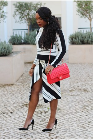 black Mango pumps - red Chanel bag - black Zara skirt - black Zara blouse