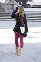 asos coat - Aldo boots - pull&bear jeans - American Apparel bag