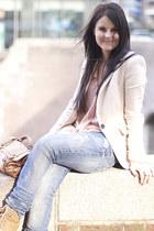 Zara blazer - Zara jeans - Topshop bag - Zara wedges - ruffle Zara blouse