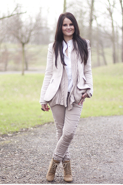 asos jeans - Zara blazer - leather Topshop bag - Zara wedges - Zara blouse - Top