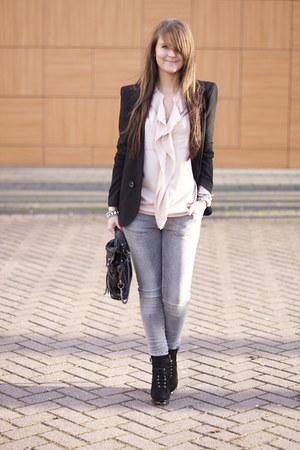 asos blazer - Zara jeans - romwe bag - sam edelman heels - asos blouse