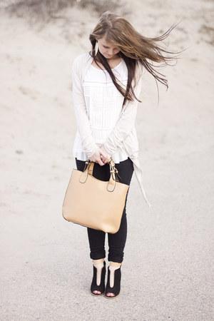 romwe bag - Bershka jeans - Reiss top - Zara wedges - Zara cardigan