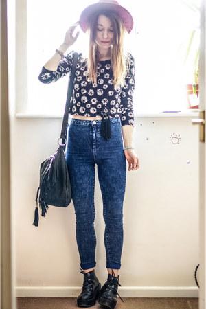 navy Primark jeans - black H&M top