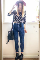 navy Primark jeans - black H&M top
