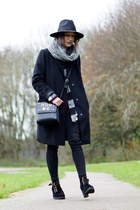 black CNdirect boots - black Primark coat - black Tomtop bag
