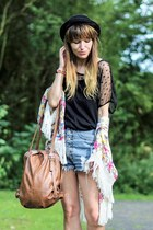 black black  lace t-shirt - bronze bag - cardigan