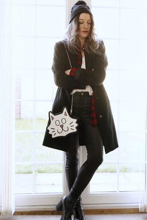 white cat bag - black high waist pants