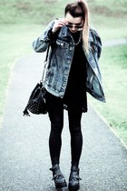 blue denim  spikes jacket - black boots - black lace dress