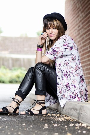 black sandals - white floral print cardigan