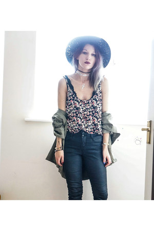 black Primark hat - floral H&M top - flash tattoos style moi accessories