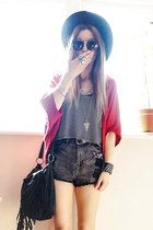 black hat - black nowIStyle bag - gray denim shorts nowIStyle shorts