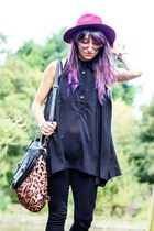 hat - black chiffon  loose shirt - heart shaped sunglasses